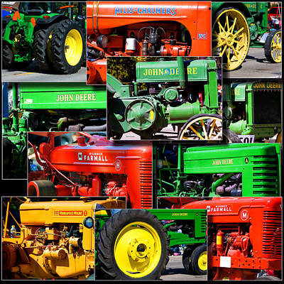 Farm Tractor Collage Square Poster by Thomas Woolworth