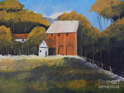 Poster featuring the painting Farm With Red Barn by Pamela  Meredith