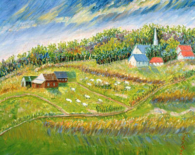 Farm With Sheep Poster by Patricia Eyre