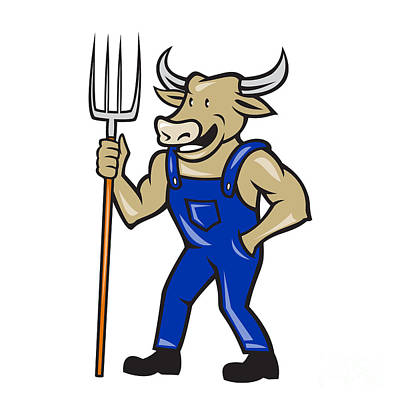 Farmer Cow Holding Pitchfork Cartoon Poster