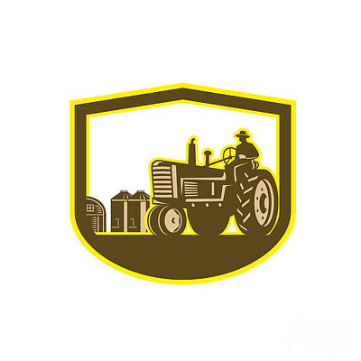 Farmer Driving Tractor Plowing Farm Shield Retro Poster