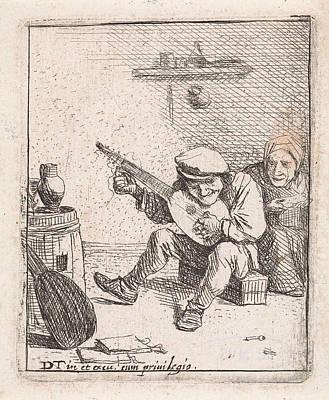 Farmer Plays The Lute, Anonymous, David Teniers II Poster by David Teniers (ii)