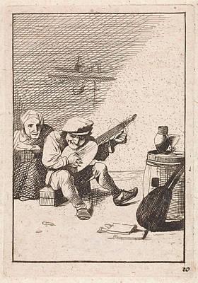 Farmer Plays The Lute, David Teniers II, Anonymous Poster by David Teniers Ii And Anonymous