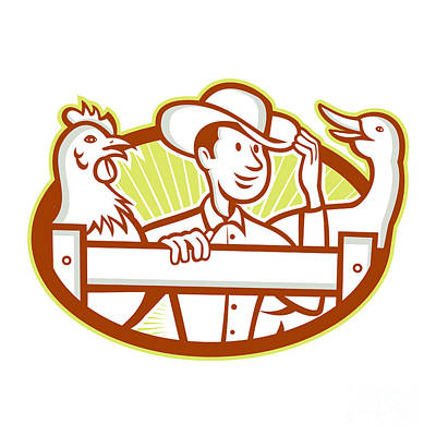 Farmer With Chicken Goose Cartoon Poster