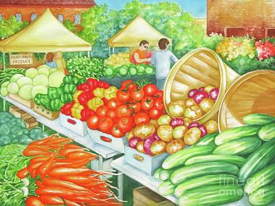 Poster featuring the painting Farmers Market View by Inese Poga