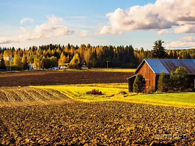 Farmer's Sunny Autumn Day Poster
