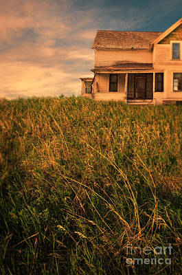 Farmhouse In The Grass Poster by Jill Battaglia