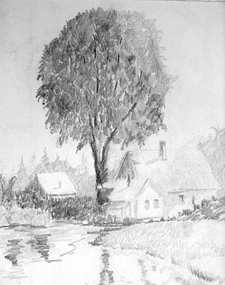 Farmhouse With Tree Poster