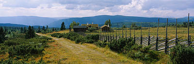Farmhouses In A Field, Gudbrandsdalen Poster