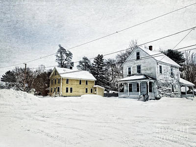 Farmhouses In The Snow Poster