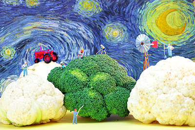 Farming On Broccoli And Cauliflower Under Starry Night Poster by Paul Ge
