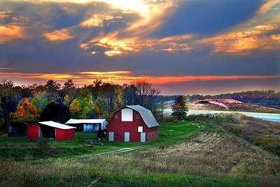 Farmstead At Sunset Poster by Julie Dant