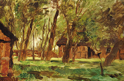 Farmstead Under Trees Poster by Thomas Ludwig Herbst