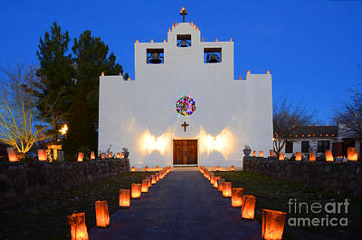 Farolitos Saint Francis De Paula Mission Poster by Bob Christopher