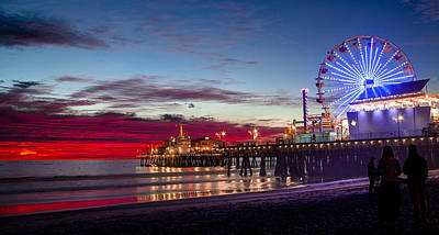 Ferris Wheel On The Santa Monica California Pier At Sunset Fine Art Photography Print Poster