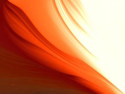 Poster featuring the digital art Glowing Orange Abstract by Gabriella Weninger - David