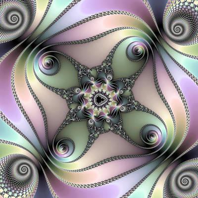 Fascinating Fractal Spirals Beautiful Metallic Colors Poster by Matthias Hauser