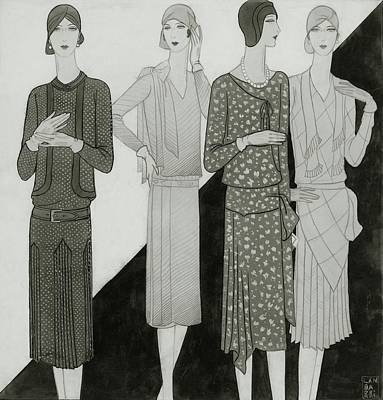 Fashion Illustration Of Four Women Poster by Lambarri