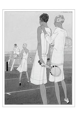 Fashion Illustration Of Women On A Tennis Court Poster by Jean Pages