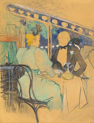 Fashionable People At Les Ambassadeurs Poster by Toulouse-Lautrec