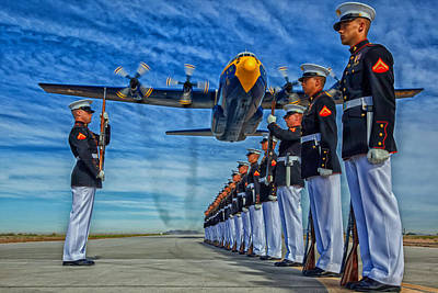 Fat Albert Over The Usmc Silent Drill Team Poster by Mountain Dreams