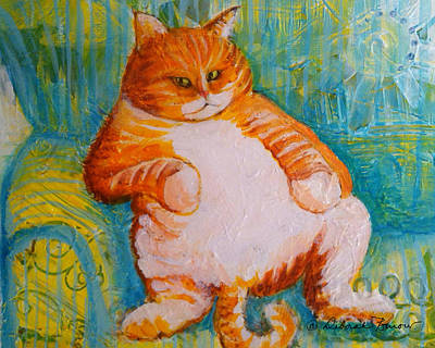 Fat Cat Poster by Deborah Burow
