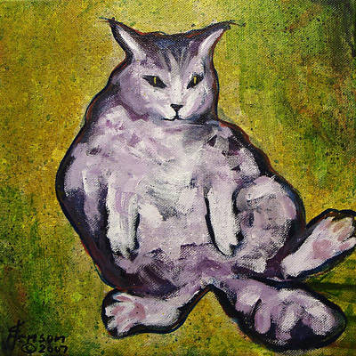 Poster featuring the mixed media Fat Cat by Kenny Henson