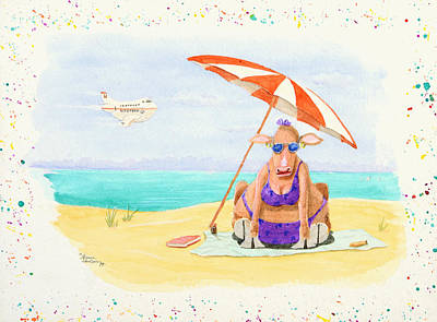 Fat Cow On A Beach 1 Poster