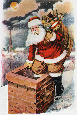 Father Christmas Popping Down The Chimney To Deliver Gifts To The Good.  Poster