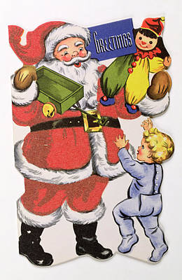 Father Christmas, Victorian Christmas Card Poster by English School