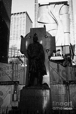 father duffy soldier priest bronze statue with green granite Celtic cross times square new york city Poster