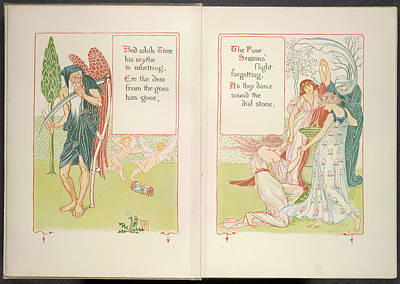 Father Time And The Four Seasons Poster by British Library
