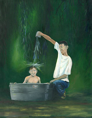 Poster featuring the painting Fatherly Fun by Dan Redmon