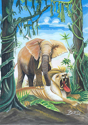 Poster featuring the painting Faune D'afrique Centrale 01 by Emmanuel Baliyanga