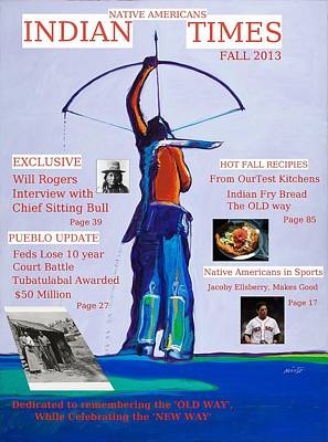 Faux Magazine Cover Native American Indian Times Poster by Robert Rhoads