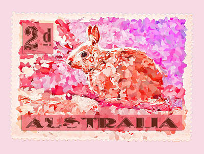 Faux Poste Bunny 2d Poster by Carol Leigh