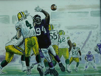 Poster featuring the painting Favre Vs The Vikes by Dan Wagner