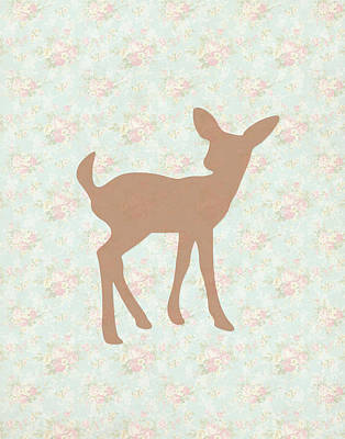 Fawn On Floral Poster