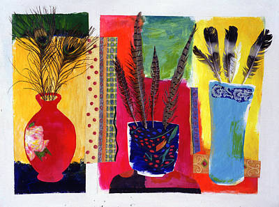 Feathered Triptych Poster by Diane Fine