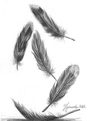 Poster featuring the drawing Feathers For A Friend by J Ferwerda