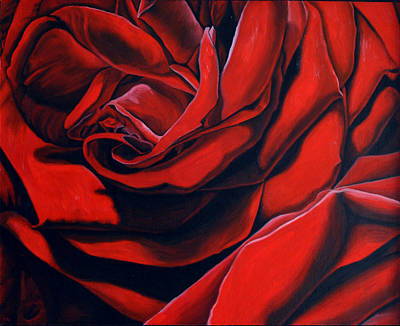 Poster featuring the painting February Rose by Thu Nguyen