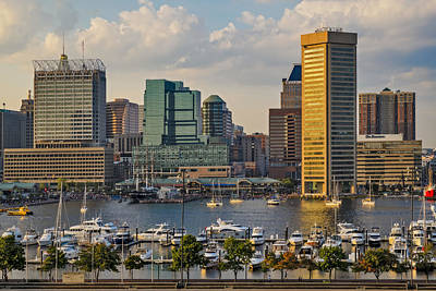 Federal Hill View To The Baltimore Skyline Poster by Susan Candelario