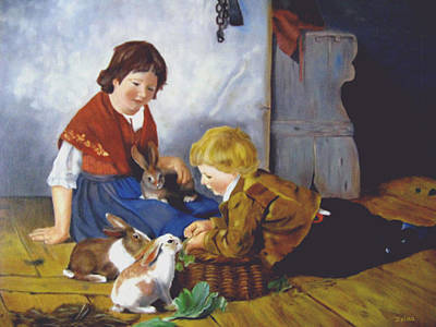 Feeding The Bunnies Poster by Zelma Hensel