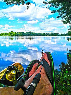 Feet Up Fishing Crab Orchard Lake Poster by Jeff Kurtz