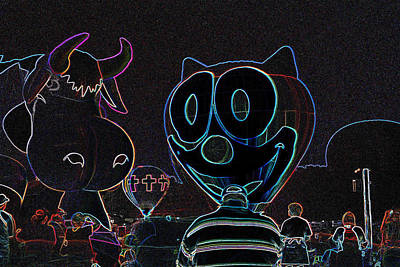 Felix And The Cow In Neon Poster
