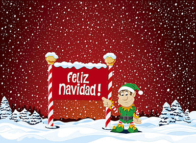 Feliz Navidad Sign Christmas Elf Winter Landscape Poster by Frank Ramspott