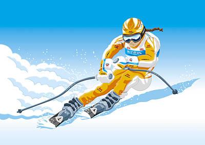 Female Downhill Skier Winter Sport Poster by Frank Ramspott