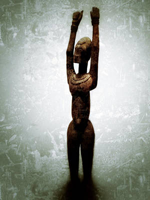 Female Figure Standing With Arms Raised Poster