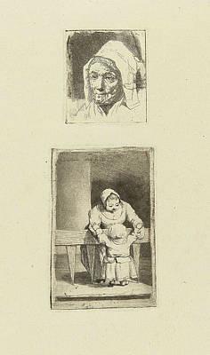 Female Head And Maid With Grandchild, Marie Lambertine Poster