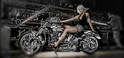 Female Model With A Motorcycle Poster by Panoramic Images